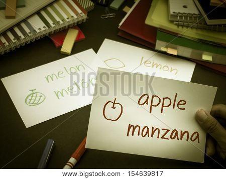 Learning New Language Making Original Flash Cards; Spanish
