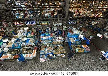 Seoul - October 23, 2016: Aerial View Of Shoppers At Noryangjin Fisheries Wholesale Market The 24 Ho