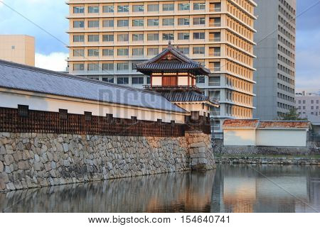 A moat surrounding a the Hiroshima Castle in Hiroshima, Japan