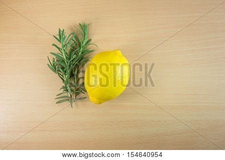 Lemon and Rosemary with Copy space - Stock Photo
