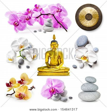 Zen spa background.Golden buddha statue zen stones gong pink and white orchid flowers collection isolated on white background