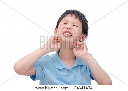 Young asian boy scratching his allergy skin