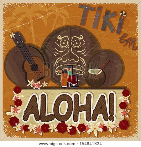 Vintage orange card - signboard tiki bar - with the image ukulele drums and masks. eps10