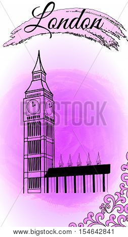 Illustration of attractions of London on the watercolor background - Big Ben
