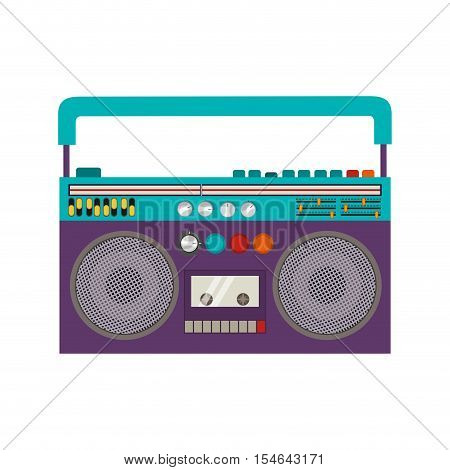 Classic 80s Boombox Portable Cassette Tape Player over white Background.  Vector illustration