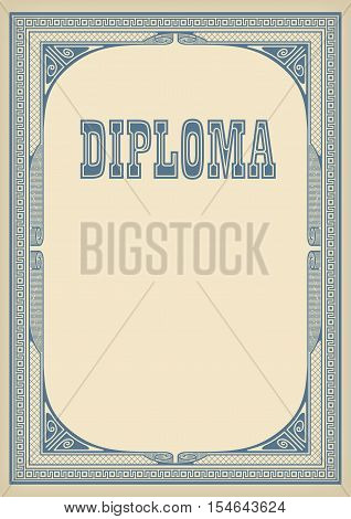 Template with retro frame and lettering Diploma, faded paper background. A4 page size. Elements are organized by groups.