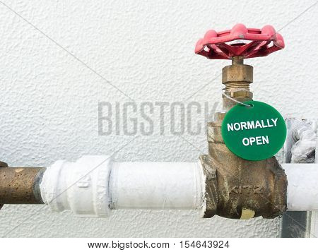 Soft Focus Of Manual Small Bronze Globe Valve Or Ball Valve Showing Normally Close Or Normally Open