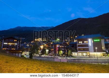 ZERMATT, SWITZERLAND - Sep 12: Evening view of Zermatt in Switzerland on Sep 12, 2016. Zermatt is a municipality in Switzerland which famed as a mountaineering and ski resort of the Swiss Alps.