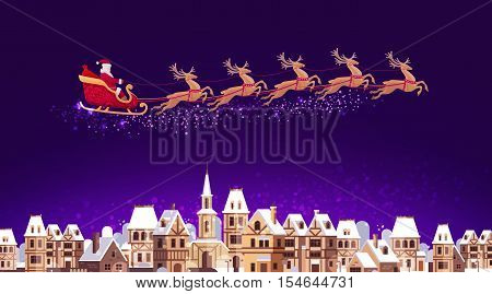Santa Claus in sleigh pulled by reindeer flying over city. Christmas vector illustration