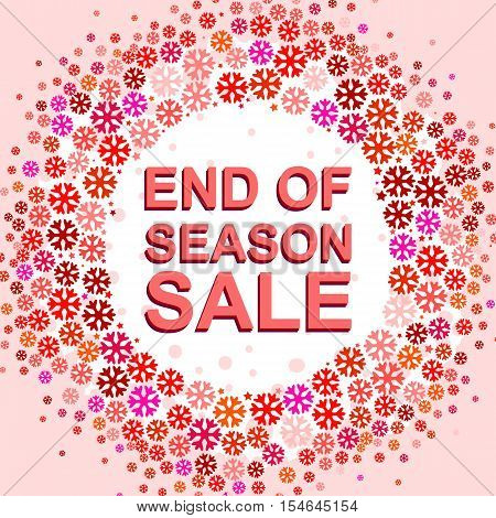 Big winter sale poster with END OF SEASON SALE text. Advertising pink and red  banner template