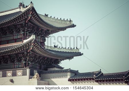 Details Of  Gyeongbokgung  Palace. Traditional Architecture In Korea, Seoul.