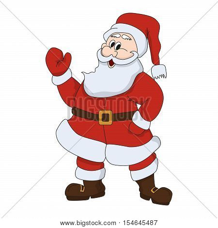Santa claus on white background. Cute santa claus celebration man with gift. happy new and merry christmas year santa claus character. Vector illustration for retro christmas card winter holiday man.