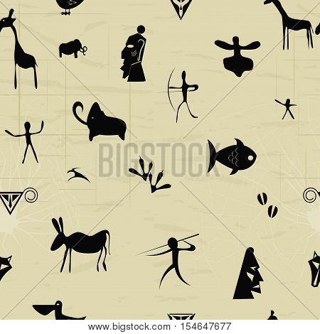 Seamless pattern with elements of primitive painting original tribal style