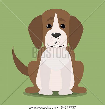 Beagle puppy sitting. Vector cartoon illustration isolated