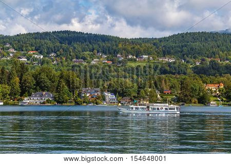 Landscape of the Worthersee lake with ship Carinthia Austria