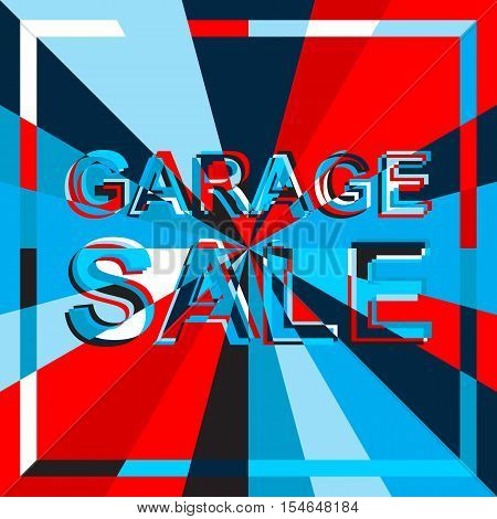Big sale poster with GARAGE SALE text. Advertising blue and red  banner template