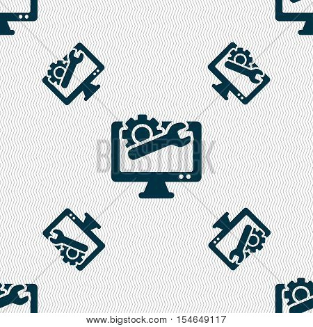Repair Computer Icon Sign. Seamless Pattern With Geometric Texture. Vector