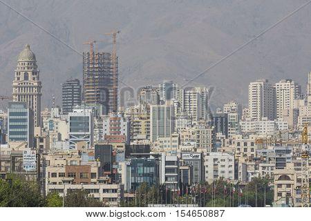 Teheran, Iran - October 03, 2016:tehran Skyline And Greenery In Front Of Alborz Mountains
