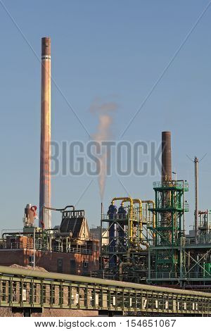 industrial buildings, park with silo and chimney