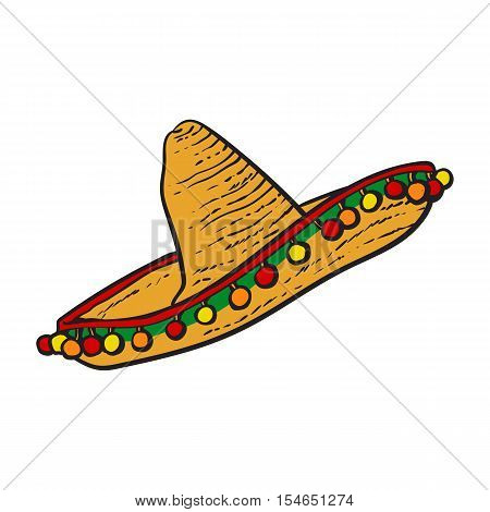 Traditional Mexican wide brimmed sombrero hat, sketch style vector illustration isolated on white background. Hand drawn Mexican sombrero