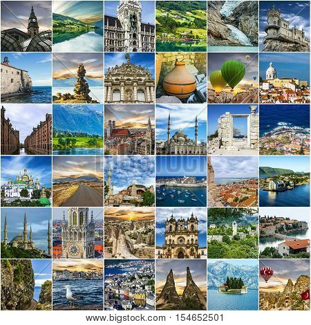 Travel collage; Norway, Portugal, Madeira, Turkey, Germany, Montenegro, Crimea. European landmarks