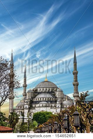 Blue mosque Sultanahmet building in Istanbul, Turkey