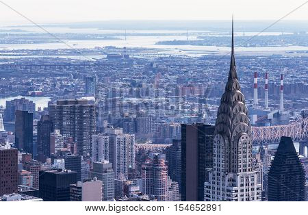 Manhattan - April of 2015, New York City, USA: Aerial view of Chrysler Building, East River and Astoria
