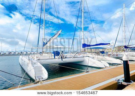 Sailing boats docked at  the beautiful Marina at Varadero beach in Cuba