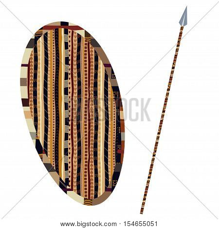 Shield and spear on a white background