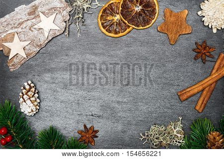 Christmas Decoration On Shale As Background