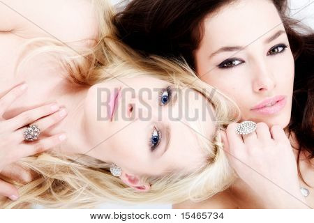 sensual blond and brunette women portrait