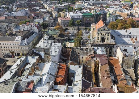 Lviv, Ukraine - October 02, 2016: Lviv City From Above. Central Part Of The Old City Of Lvov. Ukrain