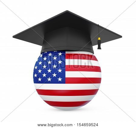 Graduation Cap with United States Flag isolated on white background. 3D render