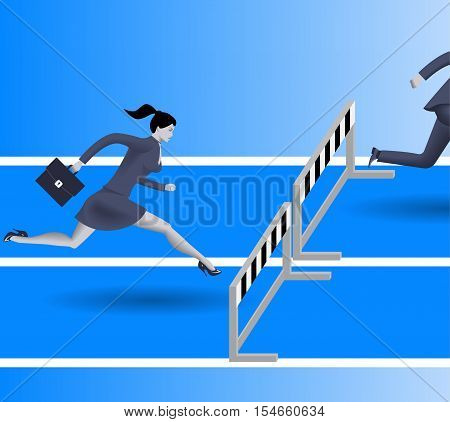 Breath in the back business concept. Confident business woman in business suit with case is going to jump over the obstacle. Her opponent just a couple steps in front of her and will be beaten soon.