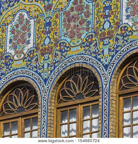 Tehran, Iran - October 05, 2016: Exteriors Of Golestan Palace And Old Mosaic Paintings In Teheran, I