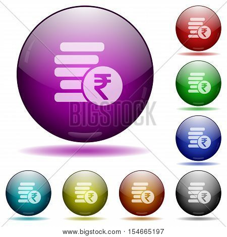 Indian Rupee coins color glass sphere buttons with sadows.
