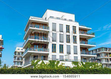 White multi-family house seen in Berlin, Germany