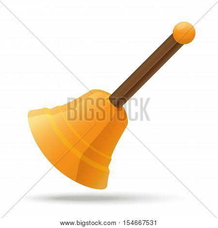 Vector illustration. Golden hand bell Santa's Claus with wooden handle isolated on white background