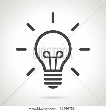 Vector illustration. Line silhouette of light bulb isolated on white background. Design element for your stickers, card, posters, emblems, web design, icons. Template or pattern of light bulb