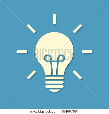 Vector illustration. Silhouette of light bulb isolated on blue background. Material design. Design element for your stickers, card, posters, emblems, web design, icons. Template or pattern of light bulb