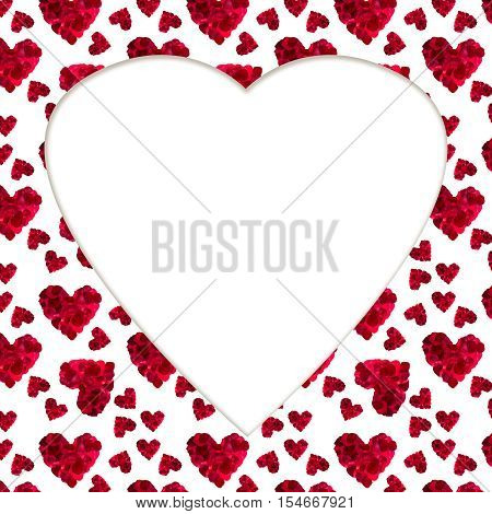 pattern red heart rose petals on a white background workpiece card greeting