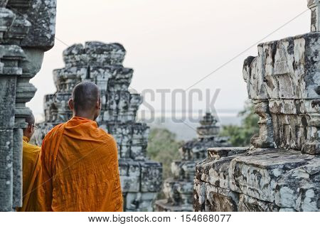 cambodian buddhist monk at angkor wat temple near siem reap cambodia