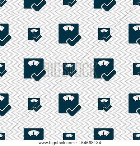 Bathroom Scales Icon Sign. Seamless Pattern With Geometric Texture. Vector