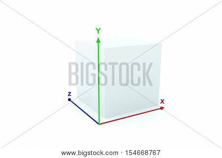 3d/box with coordinate system shows a three-dimensional image 3d illustration