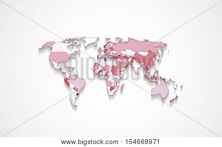 Design of world map with states in different colors with flat shadow