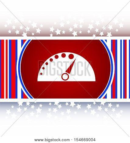 white automotive tachometer on web button (icon)