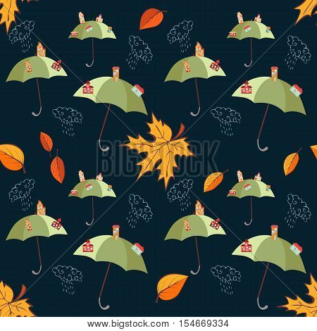 Seamless vector pattern with umbrellas and cities on them, leaves and clouds on dark background.