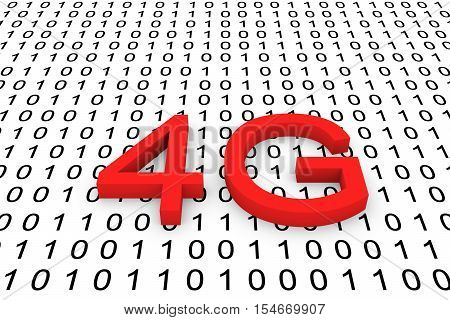 binary code generation of mobile communication with high requirements 4g 3d illustration
