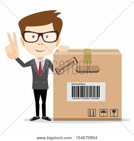 funny cartoon businessman in glasses with a cardboard box for use in presentations, etc. Stock vector illustration