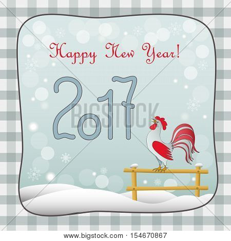 New year card with symbol of the year 2017 red rooster and text Happy New Year 2017 on retro background. Design for cover calendar new year 2017. eps 10.